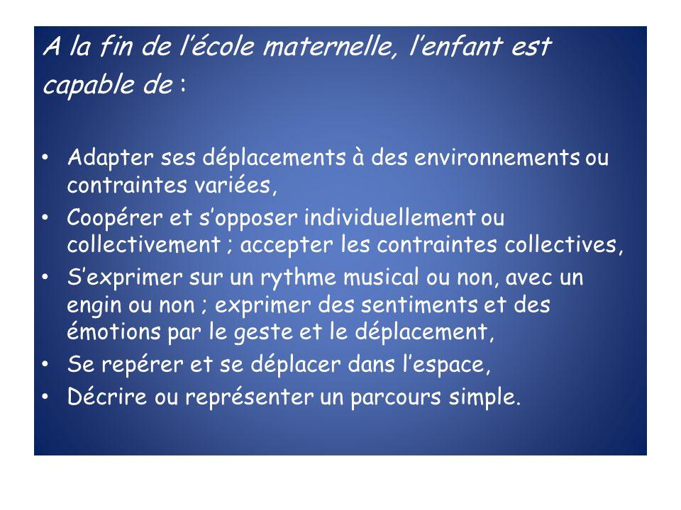 A la fin de lécole maternelle, lenfant est capable de : Adapter ses déplacements à des environnements ou contraintes variées, Coopérer et sopposer ind