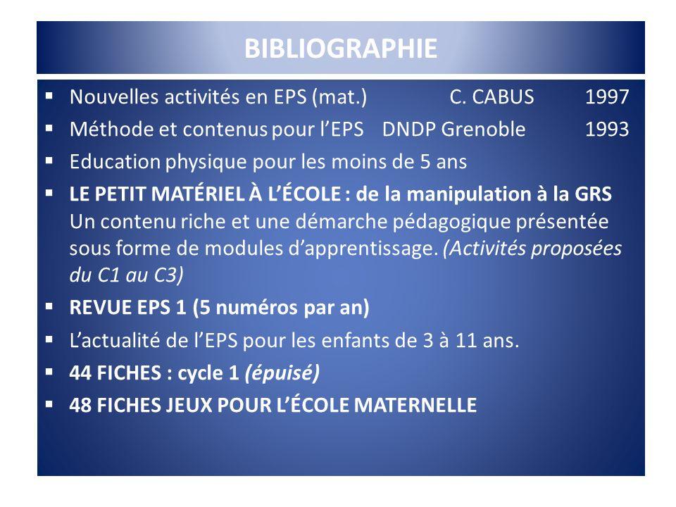 BIBLIOGRAPHIE Nouvelles activités en EPS (mat.)C. CABUS1997 Méthode et contenus pour lEPSDNDP Grenoble 1993 Education physique pour les moins de 5 ans