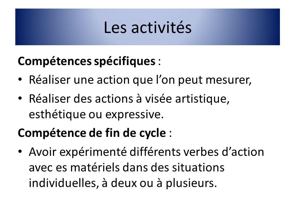 Les activités Compétences spécifiques : Réaliser une action que lon peut mesurer, Réaliser des actions à visée artistique, esthétique ou expressive. C