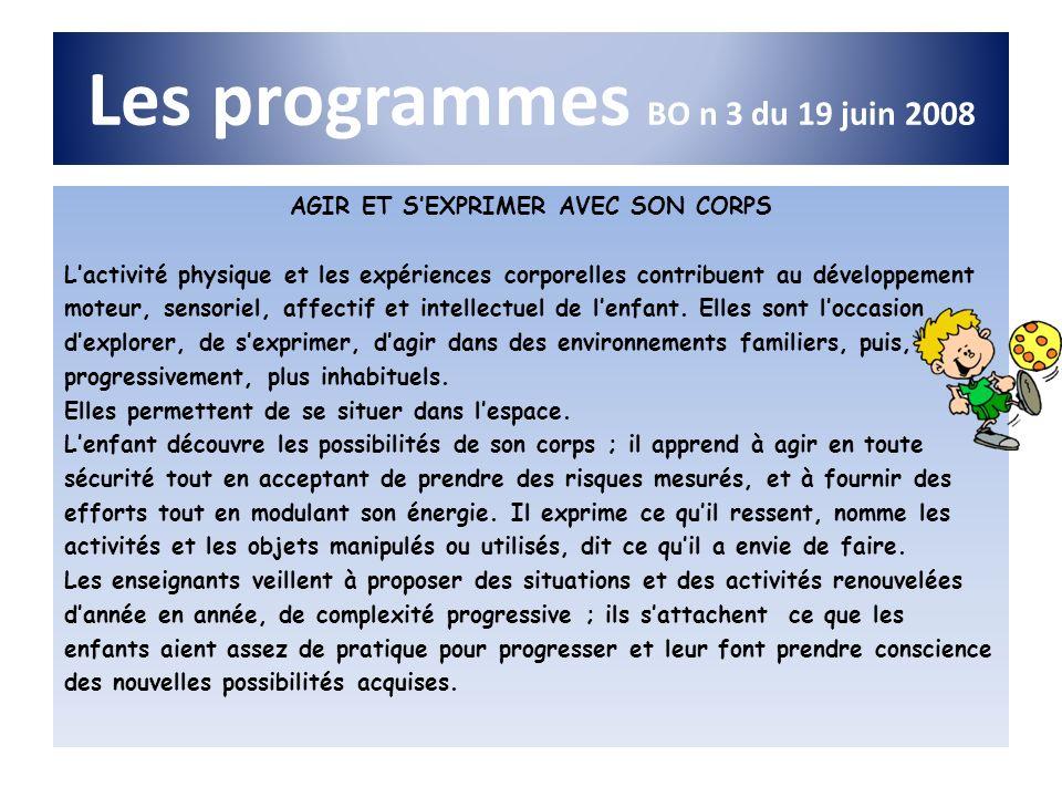 Les programmes BO n 3 du 19 juin 2008 AGIR ET SEXPRIMER AVEC SON CORPS Lactivité physique et les expériences corporelles contribuent au développement
