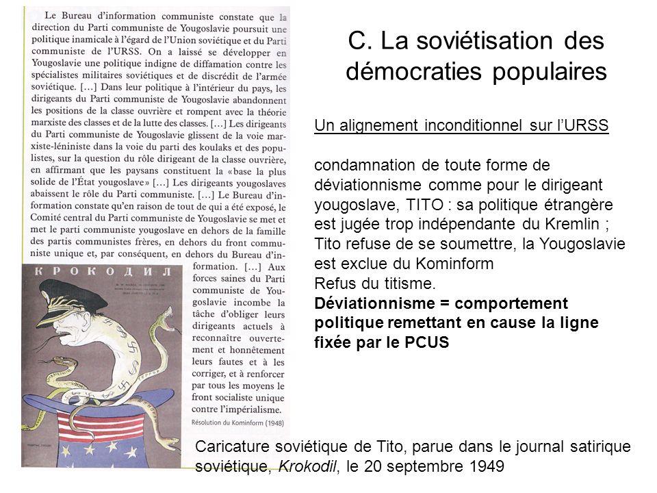 C. La soviétisation des démocraties populaires Caricature soviétique de Tito, parue dans le journal satirique soviétique, Krokodil, le 20 septembre 19