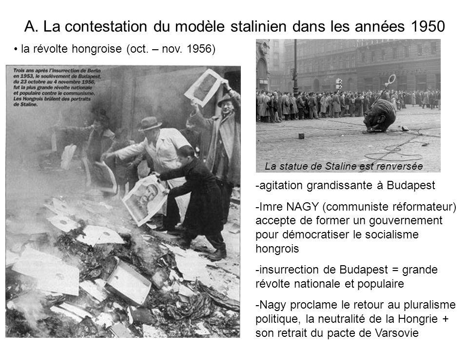 A. La contestation du modèle stalinien dans les années 1950 La statue de Staline est renversée la révolte hongroise (oct. – nov. 1956) -agitation gran
