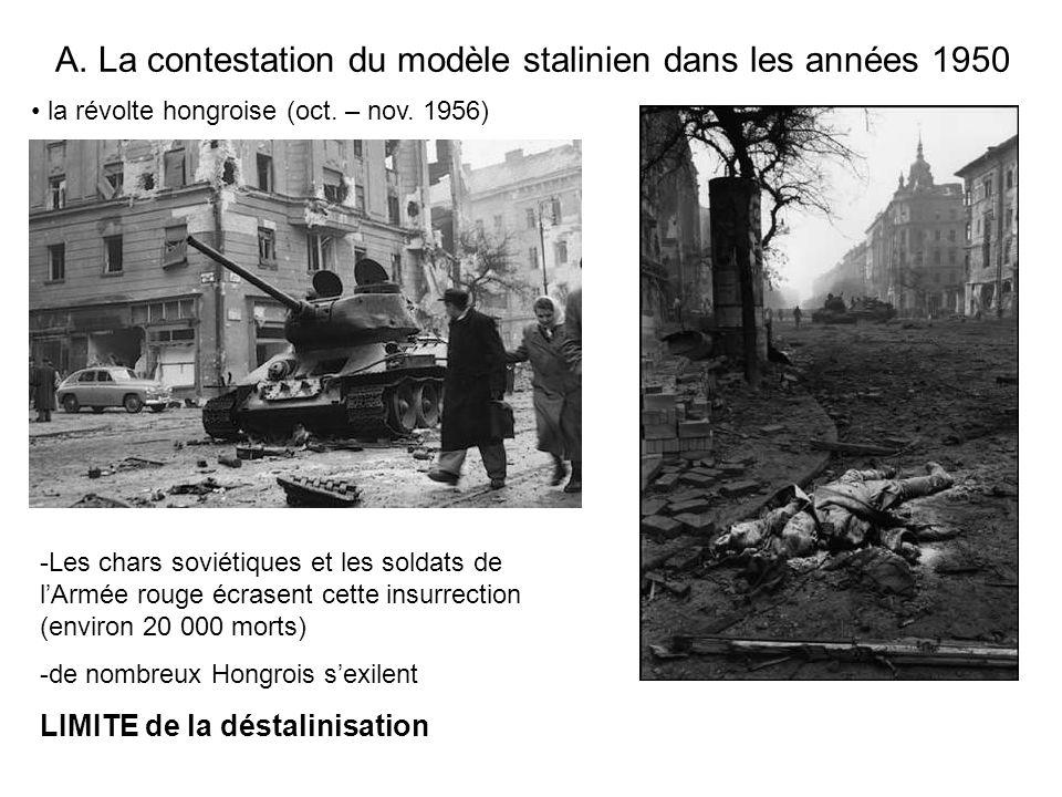 A. La contestation du modèle stalinien dans les années 1950 la révolte hongroise (oct. – nov. 1956) -Les chars soviétiques et les soldats de lArmée ro