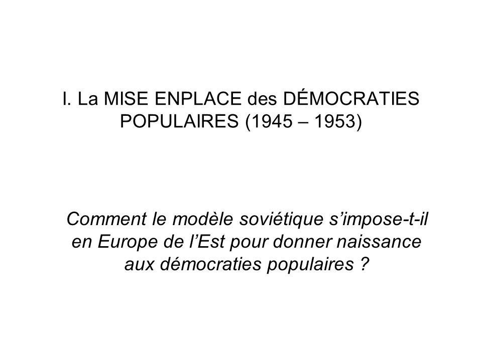I. La MISE ENPLACE des DÉMOCRATIES POPULAIRES (1945 – 1953) Comment le modèle soviétique simpose-t-il en Europe de lEst pour donner naissance aux démo