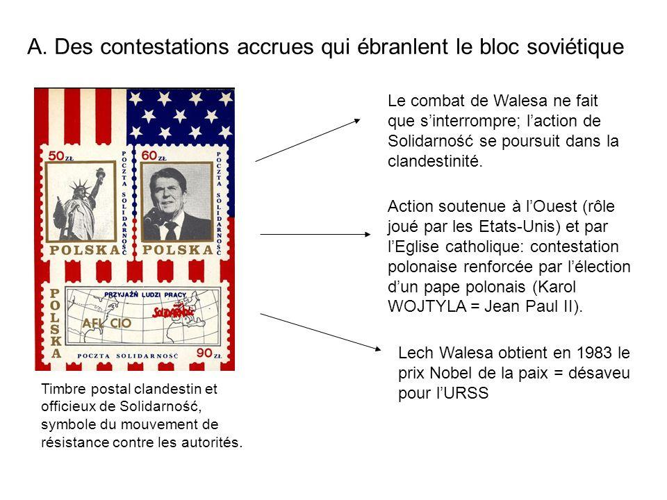 A. Des contestations accrues qui ébranlent le bloc soviétique Timbre postal clandestin et officieux de Solidarność, symbole du mouvement de résistance
