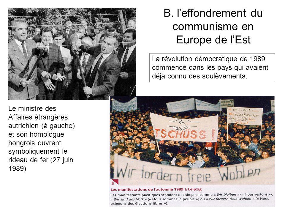 B. leffondrement du communisme en Europe de lEst Le ministre des Affaires étrangères autrichien (à gauche) et son homologue hongrois ouvrent symboliqu