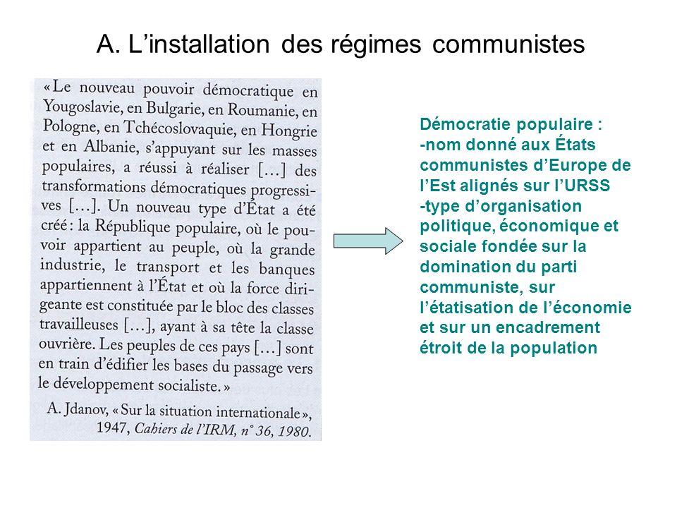 A. Linstallation des régimes communistes Démocratie populaire : -nom donné aux États communistes dEurope de lEst alignés sur lURSS -type dorganisation