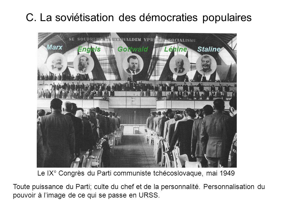 C. La soviétisation des démocraties populaires Le IX° Congrès du Parti communiste tchécoslovaque, mai 1949 Toute puissance du Parti; culte du chef et