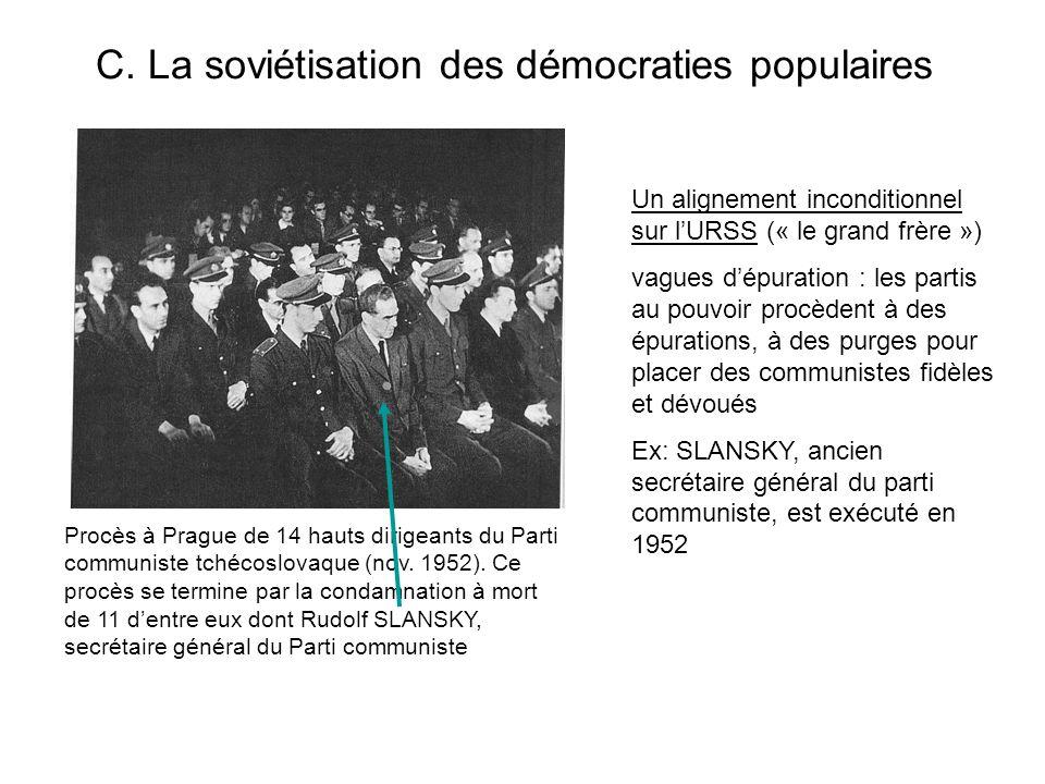 C. La soviétisation des démocraties populaires Procès à Prague de 14 hauts dirigeants du Parti communiste tchécoslovaque (nov. 1952). Ce procès se ter