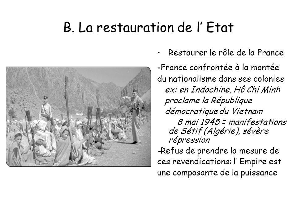 B. La restauration de l Etat Restaurer le rôle de la France -France confrontée à la montée du nationalisme dans ses colonies ex: en Indochine, Hô Chi