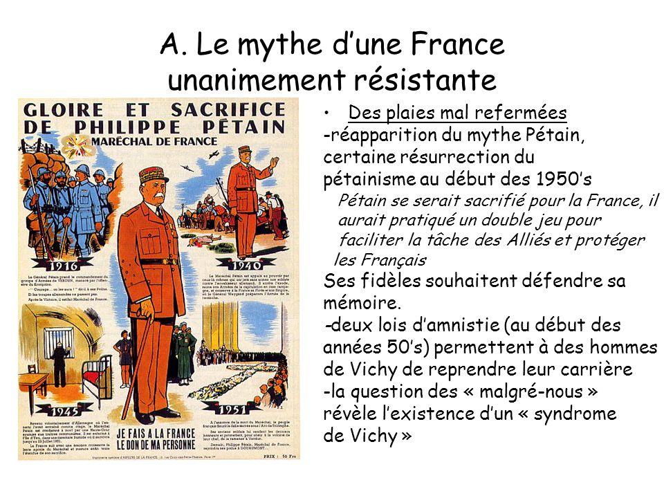 A. Le mythe dune France unanimement résistante Des plaies mal refermées -réapparition du mythe Pétain, certaine résurrection du pétainisme au début de