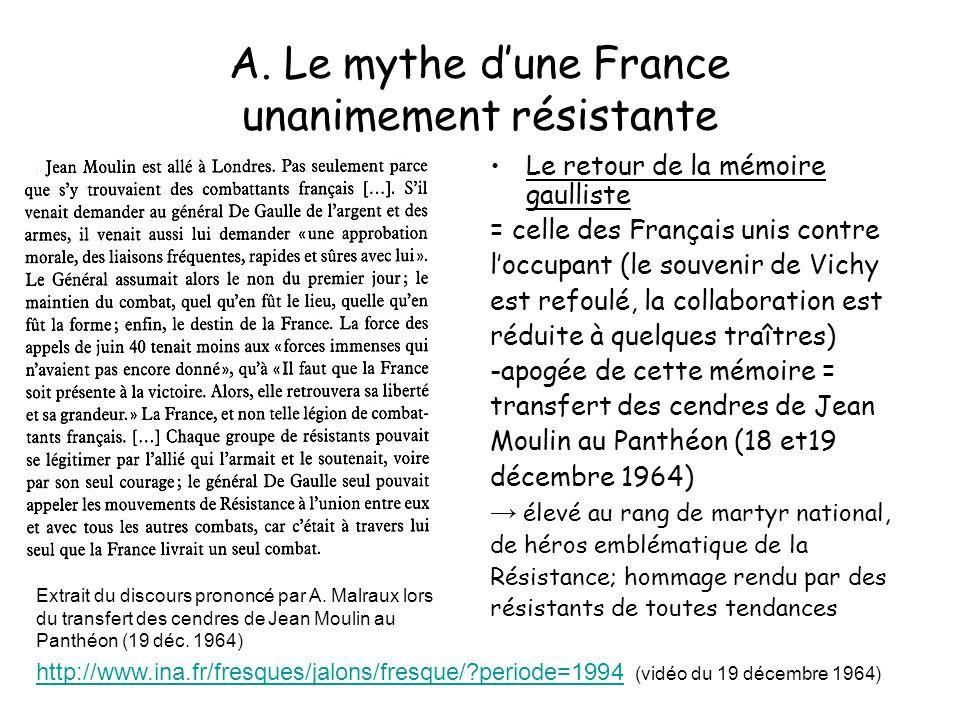 A. Le mythe dune France unanimement résistante Le retour de la mémoire gaulliste = celle des Français unis contre loccupant (le souvenir de Vichy est