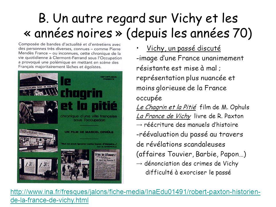 B. Un autre regard sur Vichy et les « années noires » (depuis les années 70) Vichy, un passé discuté -image dune France unanimement résistante est mis