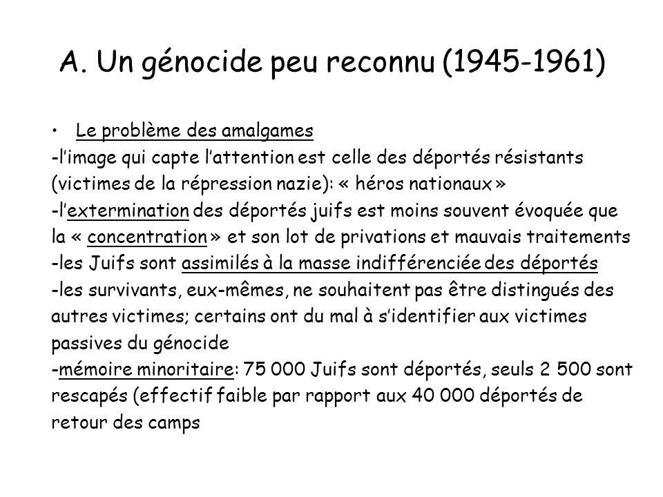 A. Un génocide peu reconnu (1945-1961) Le problème des amalgames -limage qui capte lattention est celle des déportés résistants (victimes de la répres
