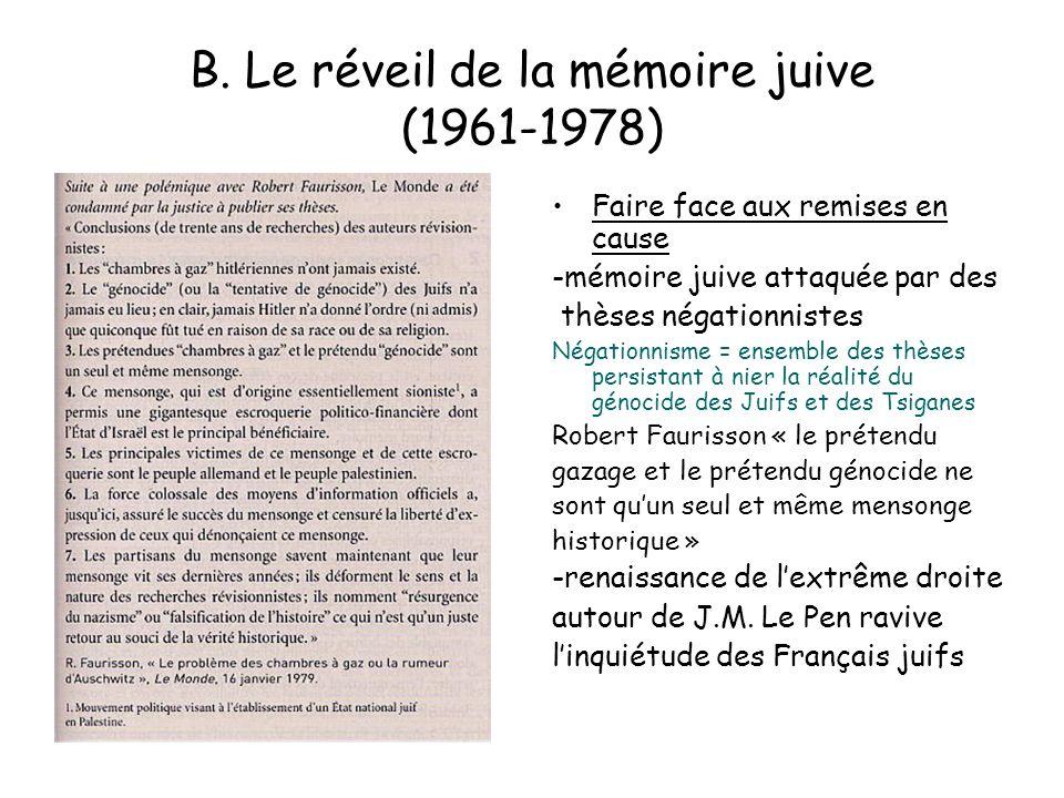 B. Le réveil de la mémoire juive (1961-1978) Faire face aux remises en cause -mémoire juive attaquée par des thèses négationnistes Négationnisme = ens
