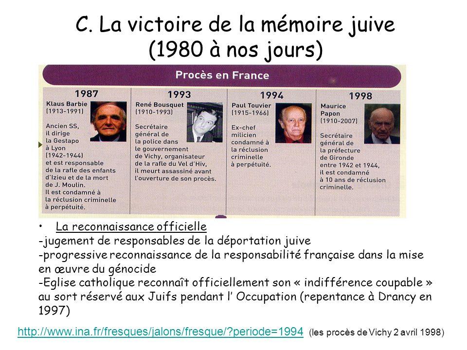 C. La victoire de la mémoire juive (1980 à nos jours) La reconnaissance officielle -jugement de responsables de la déportation juive -progressive reco