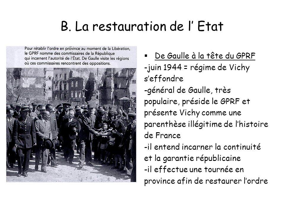 B. La restauration de l Etat De Gaulle à la tête du GPRF -juin 1944 = régime de Vichy seffondre -général de Gaulle, très populaire, préside le GPRF et