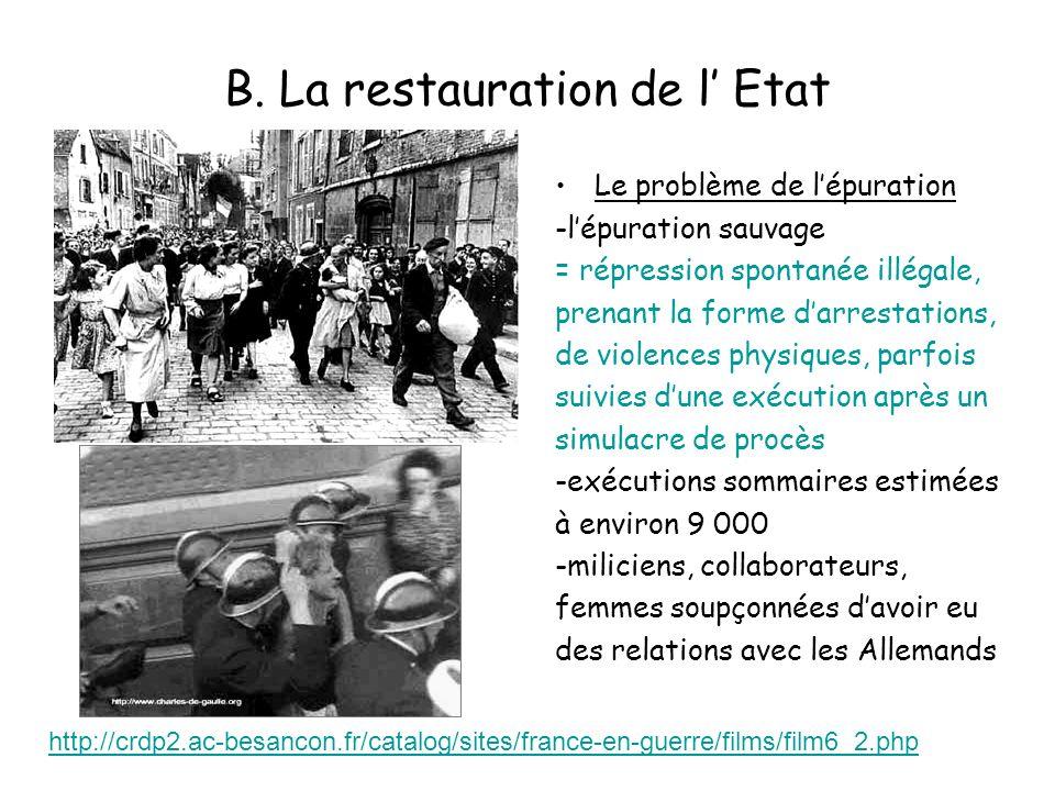 B. La restauration de l Etat Le problème de lépuration -lépuration sauvage = répression spontanée illégale, prenant la forme darrestations, de violenc