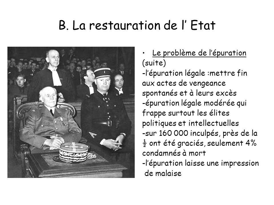 B. La restauration de l Etat Le problème de lépuration (suite) -lépuration légale :mettre fin aux actes de vengeance spontanés et à leurs excès -épura
