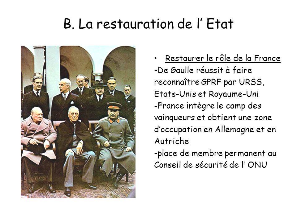 B. La restauration de l Etat Restaurer le rôle de la France -De Gaulle réussit à faire reconnaître GPRF par URSS, Etats-Unis et Royaume-Uni -France in