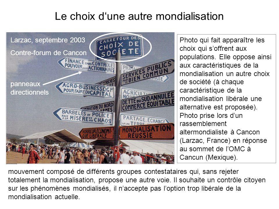 Le choix dune autre mondialisation Larzac, septembre 2003 Contre-forum de Cancon mouvement composé de différents groupes contestataires qui, sans reje