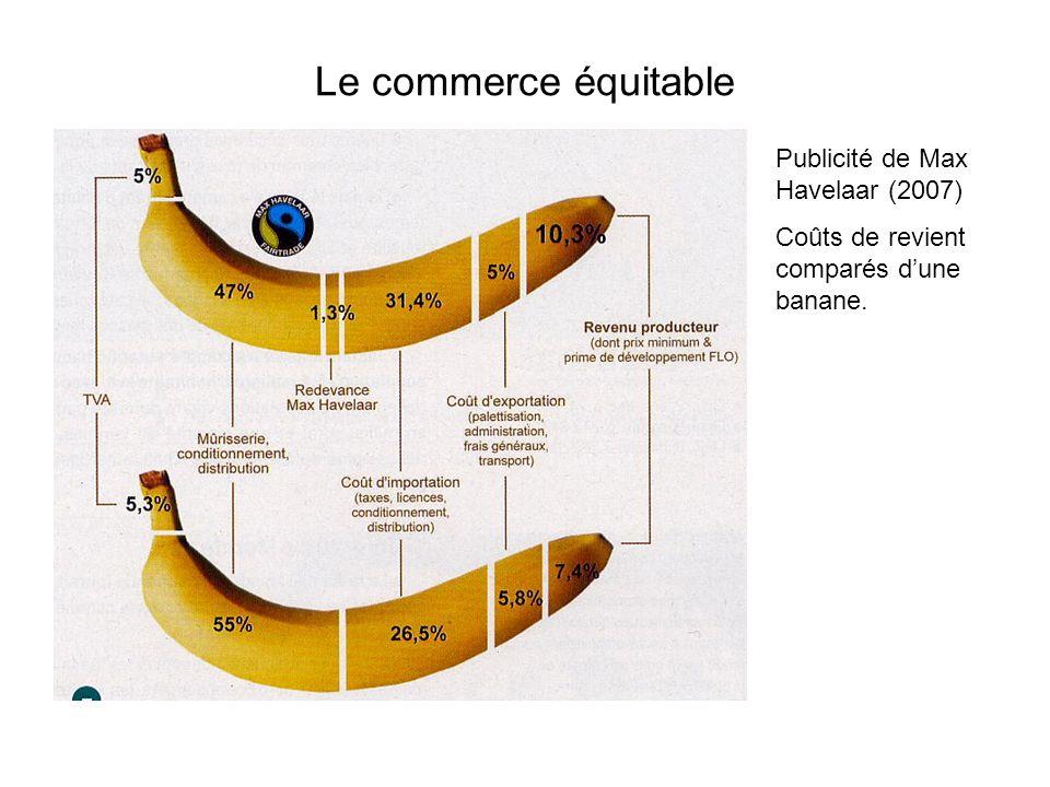 Le commerce équitable Publicité de Max Havelaar (2007) Coûts de revient comparés dune banane.