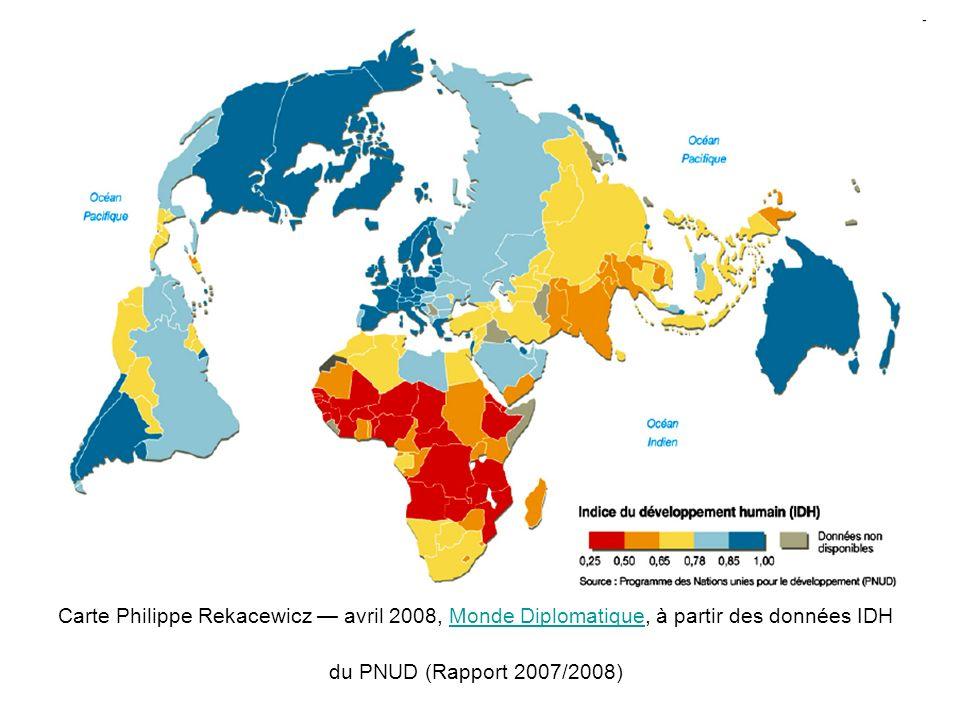 LIPH : un indicateur plus précis Critères retenus pour les pays du SudCritères retenus pour les pays développés -faible longévité : % de personnes risquant de décéder avant 40 ans -manque déducation de base : % dadultes analphabètes -non accès à des ressources élémentaires : % de personnes privées deau potable, % denfants de moins de 5 ans souffrant de sous nutrition -le % de personnes risquant de décéder avant 60 ans -le % dillettrés -le % de personnes vivant sous le seuil de pauvreté et le taux de chômage de longue durée Indicateur qui mesure plus justement la proportion de la population exclue du développement.