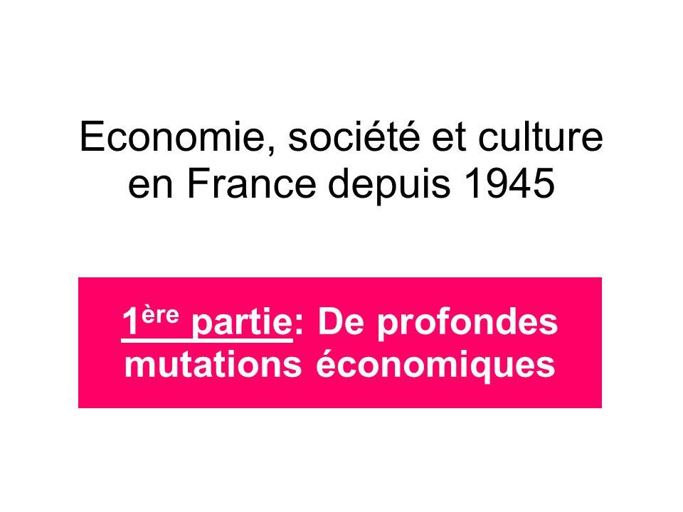 Economie, société et culture en France depuis 1945 1 ère partie: De profondes mutations économiques