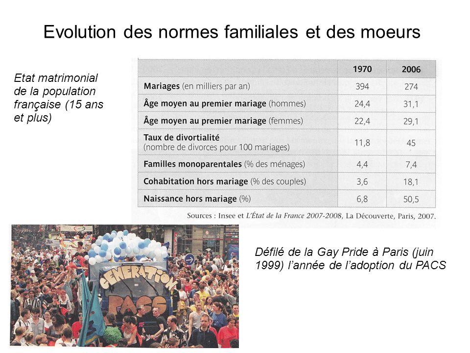 Evolution des normes familiales et des moeurs Etat matrimonial de la population française (15 ans et plus) Défilé de la Gay Pride à Paris (juin 1999) lannée de ladoption du PACS