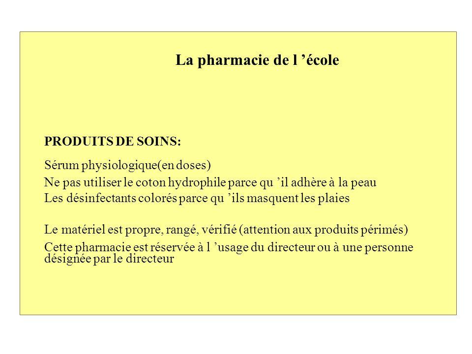 La pharmacie de l école Prévoir une armoire fermant à clef Matériel: Compresses stériles pansements adhésifs Sparadrap Une paire de ciseaux Une pince