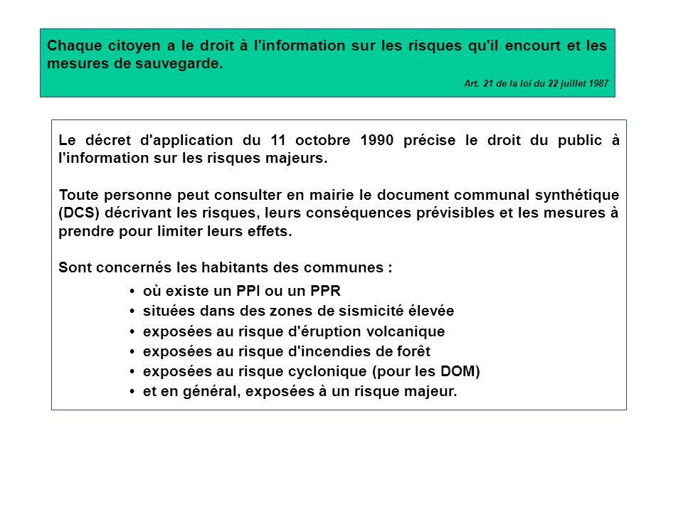 DDRM Dossier Départemental des Risques Majeurs Niveau départemental DICRIM Document d'Information Communal sur les RIsques Majeurs Plusieurs documents