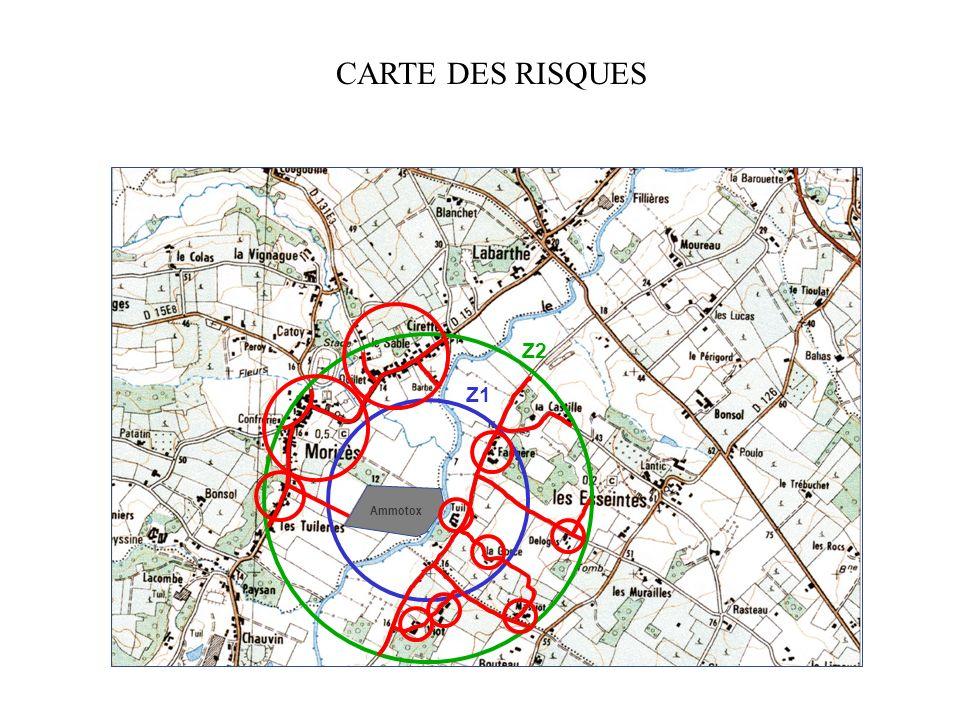 Agglomérations Habitations isolées Camping Réseau routier Ammotox CARTE DES ENJEUX