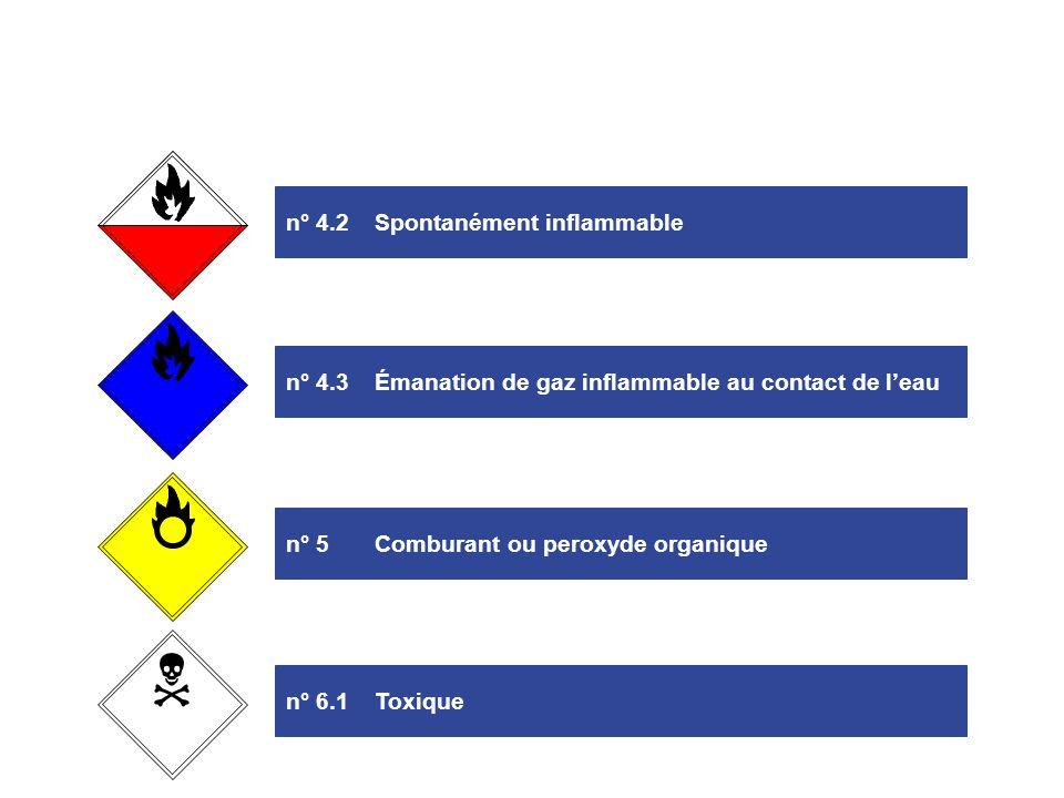 n° 1Explosif n° 3Gaz ou liquide inflammable n° 2Gaz non inflammable et non toxique n° 4.1Solide inflammable