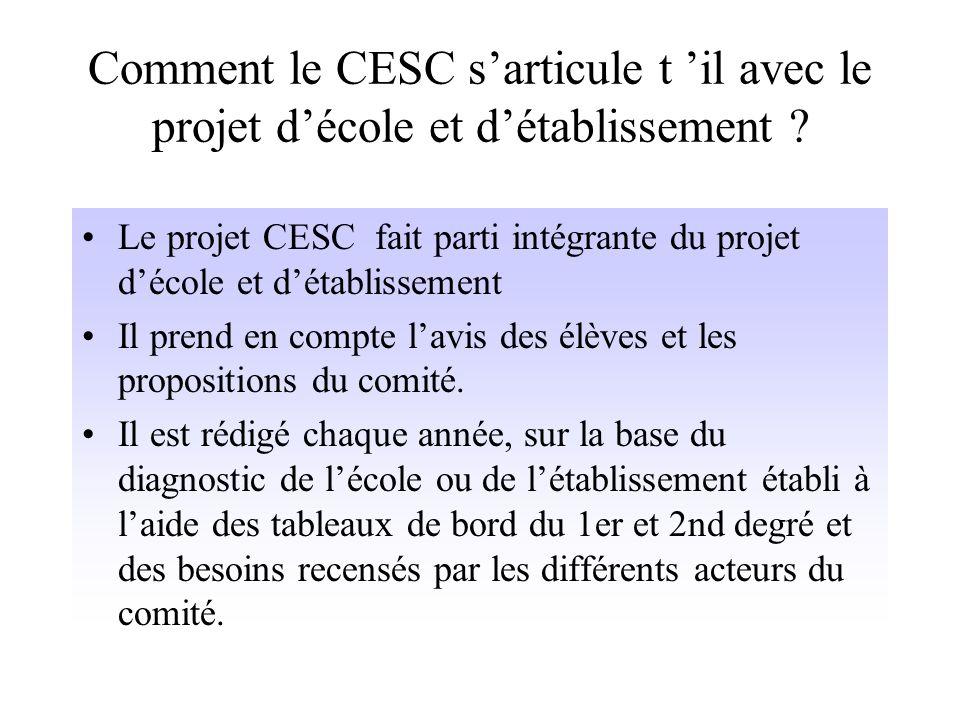 Fonctionnement du CESC Le CESC se réunit en séances plénières, en commission restreinte ou/et en groupe de travail thématique. Pour un bon fonctionnem
