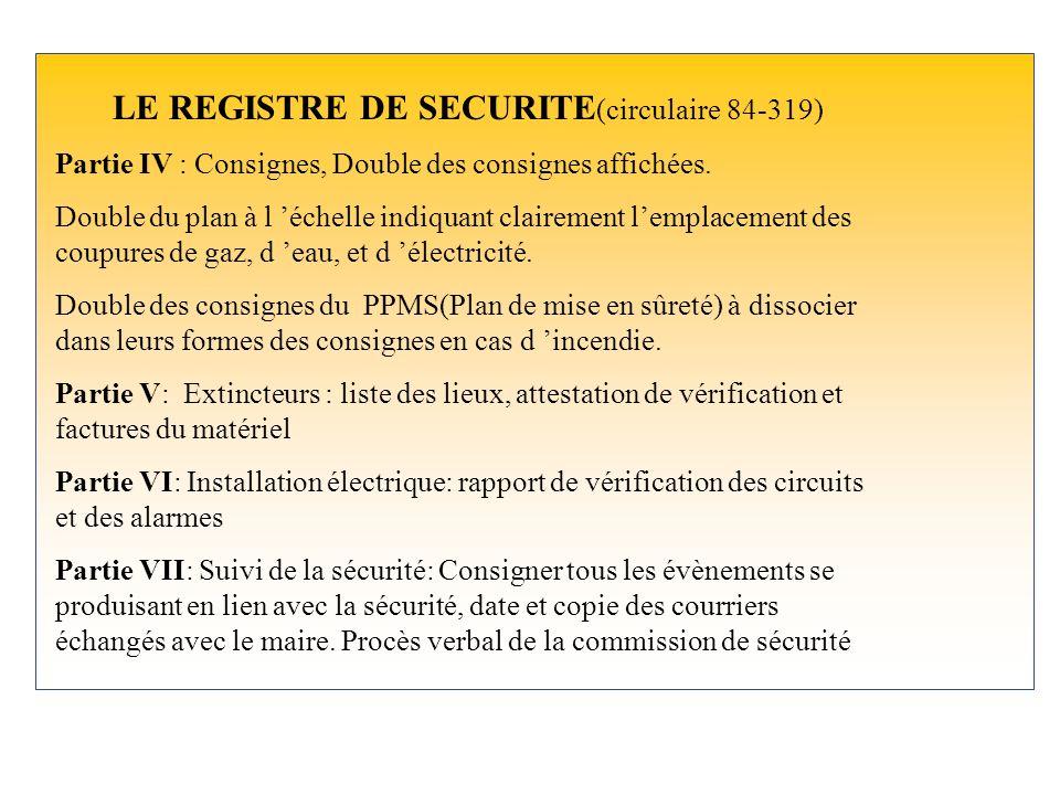 LE REGISTRE DE SECURITE (circulaire 84-319) Partie I : Aide mémoire: adresses utiles, numéros de téléphone: pompiers, police, gendarmerie, mairie, SAM