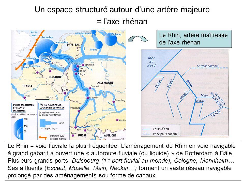 Un espace structuré autour dune artère majeure = laxe rhénan Vue dune barge sur le Rhin à Cologne Le trafic par conteneurs progresse dans le trafic rhénan.