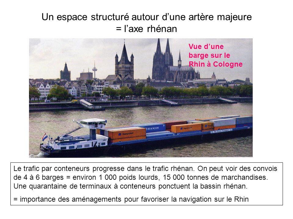 Un espace structuré autour dune artère majeure = laxe rhénan Vue dune barge sur le Rhin à Cologne Le trafic par conteneurs progresse dans le trafic rh