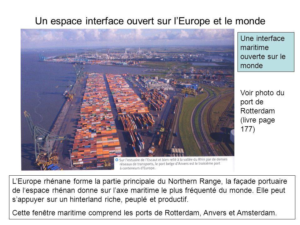 Un espace interface ouvert sur lEurope et le monde Voir photo du port de Rotterdam (livre page 177) LEurope rhénane forme la partie principale du Nort