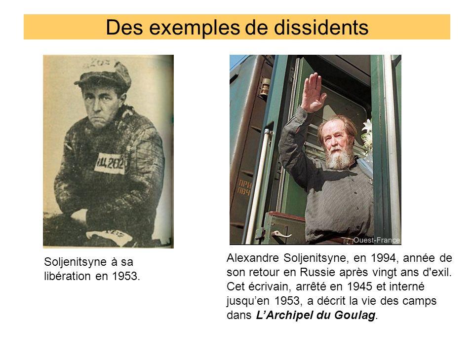 Des exemples de dissidents Alexandre Soljenitsyne, en 1994, année de son retour en Russie après vingt ans d'exil. Cet écrivain, arrêté en 1945 et inte