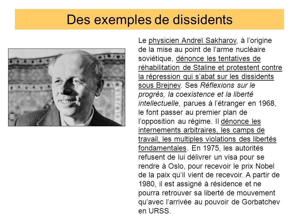 Des exemples de dissidents Le physicien Andreï Sakharov, à lorigine de la mise au point de larme nucléaire soviétique, dénonce les tentatives de réhab
