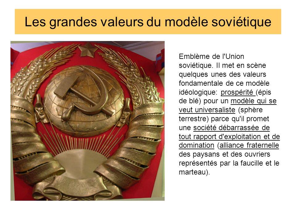 Les grandes valeurs du modèle soviétique Emblème de l'Union soviétique. Il met en scène quelques unes des valeurs fondamentale de ce modèle idéologiqu