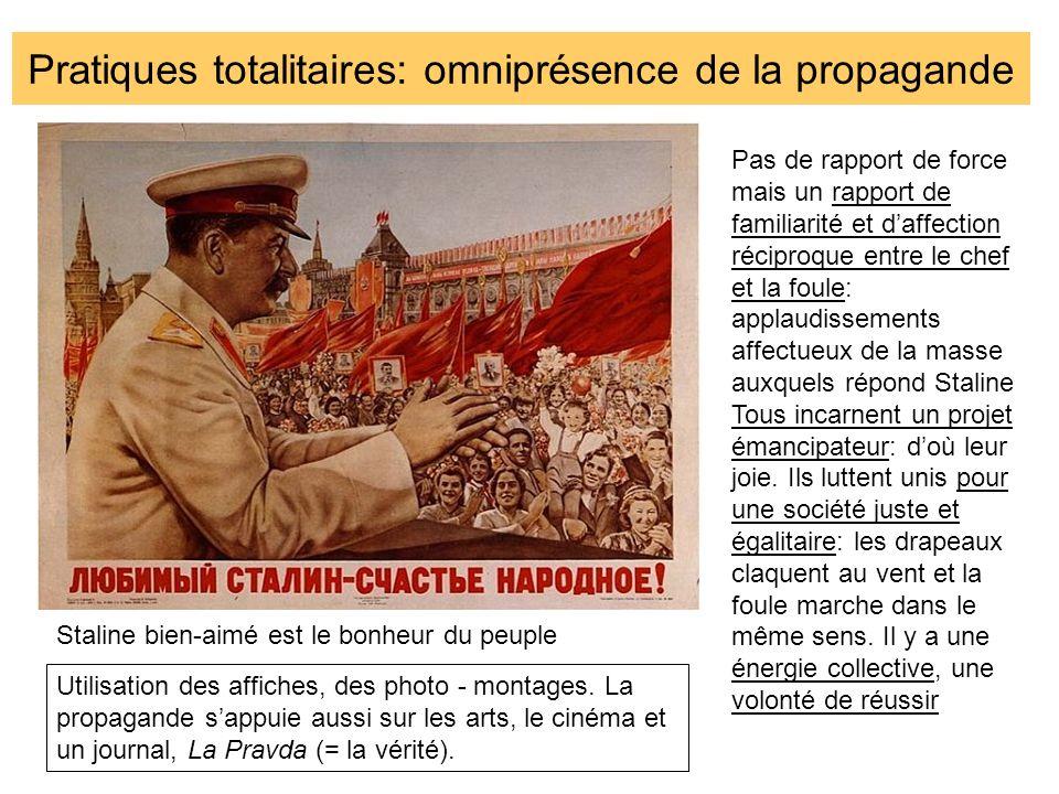 Pratiques totalitaires: omniprésence de la propagande Staline bien-aimé est le bonheur du peuple Pas de rapport de force mais un rapport de familiarit