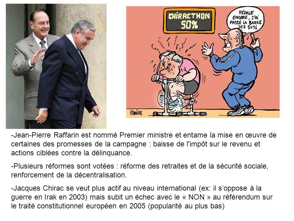 -Jean-Pierre Raffarin est nommé Premier ministre et entame la mise en œuvre de certaines des promesses de la campagne : baisse de l'impôt sur le reven