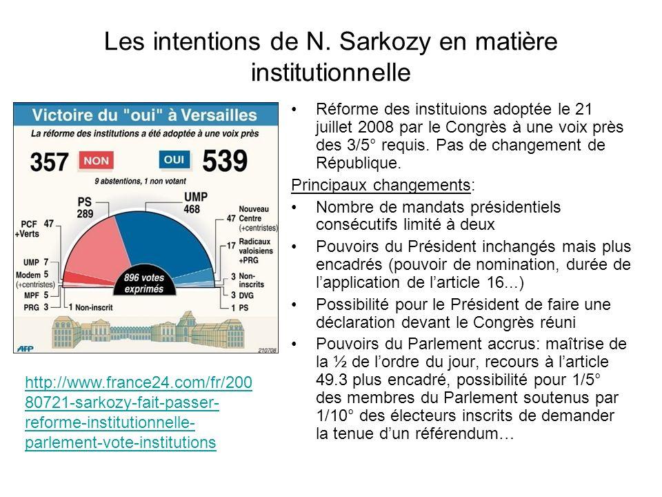 Les intentions de N. Sarkozy en matière institutionnelle Réforme des instituions adoptée le 21 juillet 2008 par le Congrès à une voix près des 3/5° re