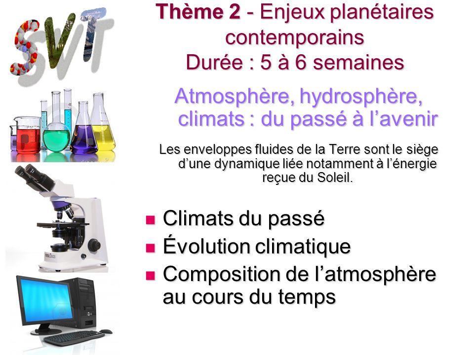Thème 2 - Enjeux planétaires contemporains Durée : 5 à 6 semaines Atmosphère, hydrosphère, climats : du passé à lavenir Les enveloppes fluides de la T