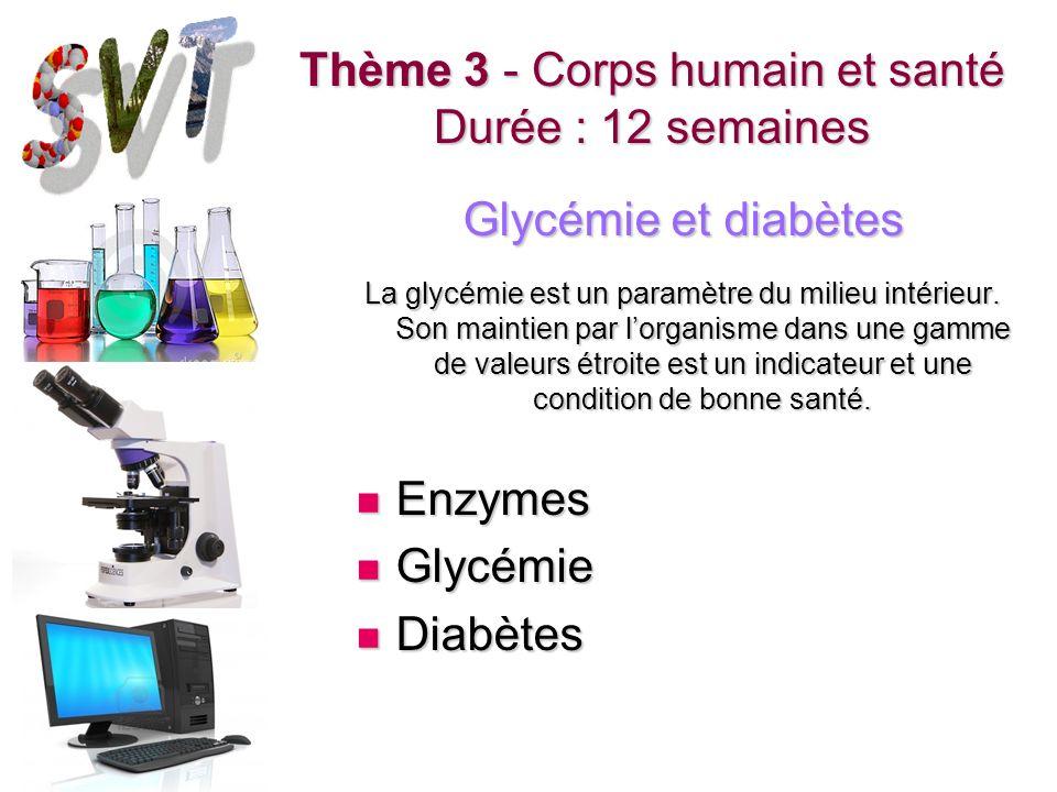 Thème 3 - Corps humain et santé Durée : 12 semaines Glycémie et diabètes La glycémie est un paramètre du milieu intérieur. Son maintien par lorganisme