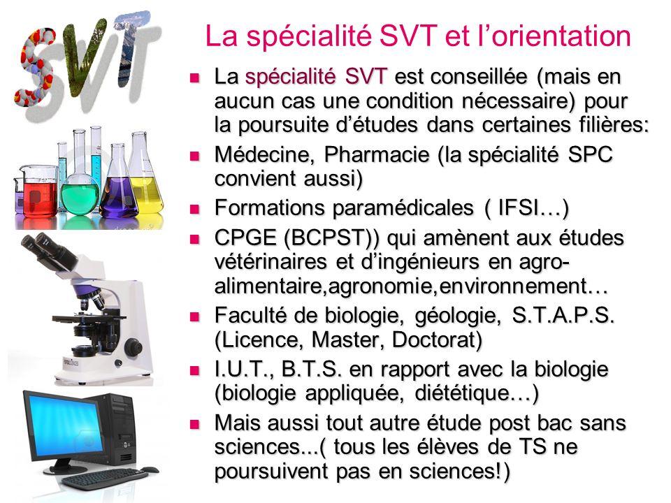 La spécialité SVT est conseillée (mais en aucun cas une condition nécessaire) pour la poursuite détudes dans certaines filières: La spécialité SVT est