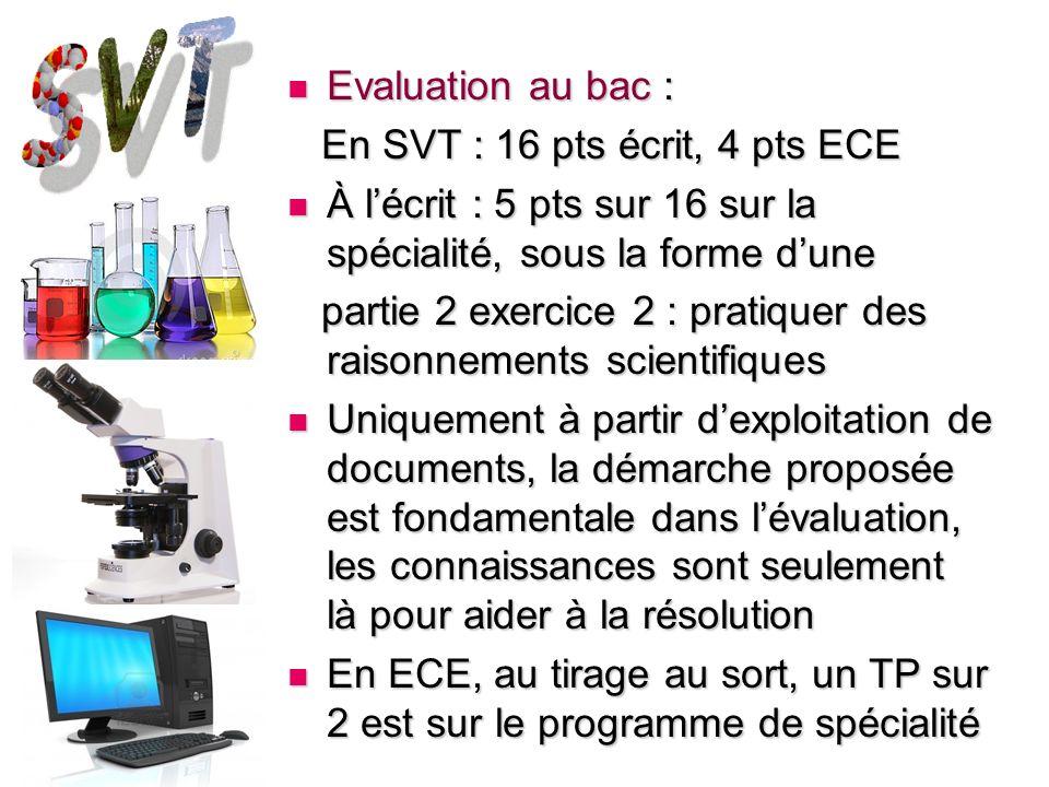 Evaluation au bac : Evaluation au bac : En SVT : 16 pts écrit, 4 pts ECE En SVT : 16 pts écrit, 4 pts ECE À lécrit : 5 pts sur 16 sur la spécialité, s