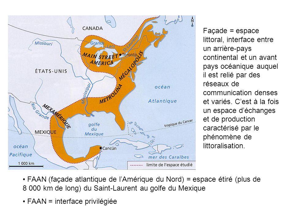 Façade = espace littoral, interface entre un arrière-pays continental et un avant pays océanique auquel il est relié par des réseaux de communication