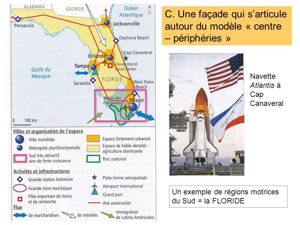 Un exemple de régions motrices du Sud = la FLORIDE C. Une façade qui sarticule autour du modèle « centre – périphéries » Navette Atlantis à Cap Canave